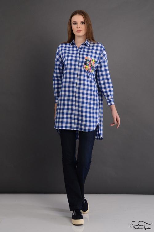Scarlett Coton Mavi Renkli Cep Gömlek