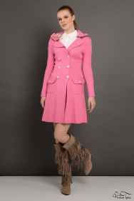 Soley Pembe Örme Trenchcoat