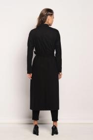 Cahide Cep İşlemeli Siyah Trenchcoat