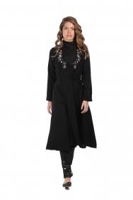 Fiona Mor İşlemeli Siyah Ceket