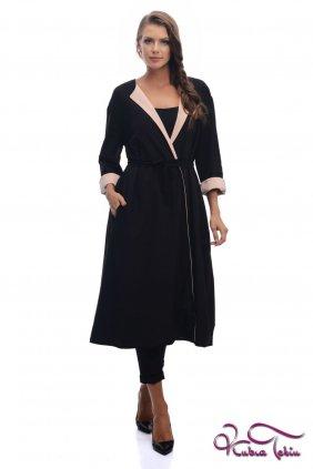Rania Siyah Pudra Çift Taraflı Trenchcoat