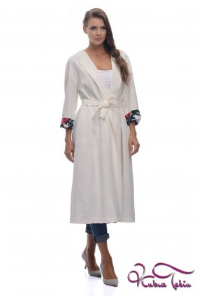 Rania Beyaz Çift Taraflı Trenchcoat