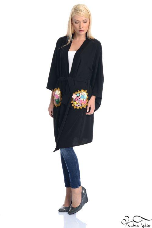 Crystal Siyah Cepli Kimono