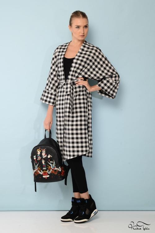 Siyah Kareli Kimono