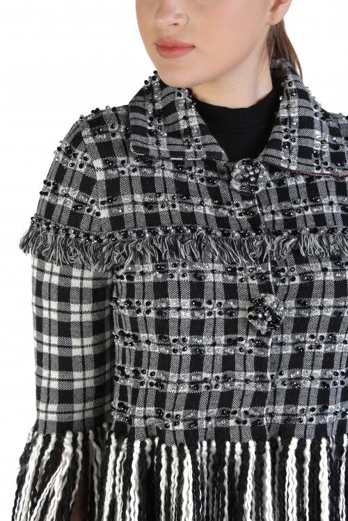Liz Monogram İşlemeli Yün Ceket