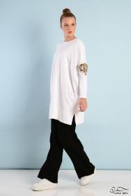 Tania Beyaz Kol Detaylı Eşofman Takım