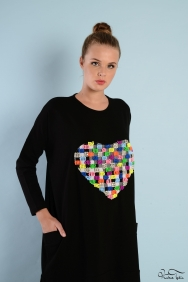 Tania Siyah Kalp Eşofman Takım