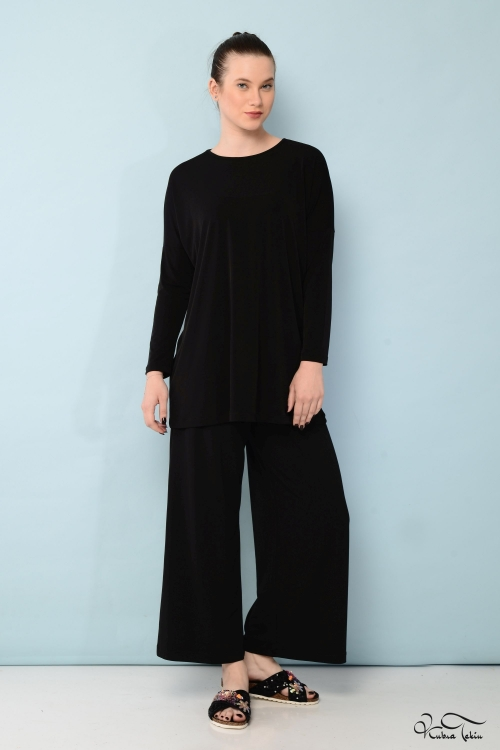 Vania Siyah Crop Takım